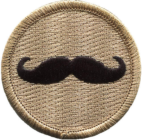Mustache Scout Patrol Patch - embroidered 2 inch round