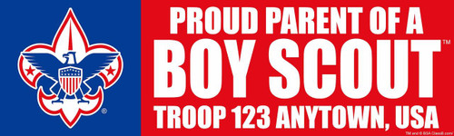 Custom Proud Parent of a Scout Bumper Sticker - Troop (SP4616)