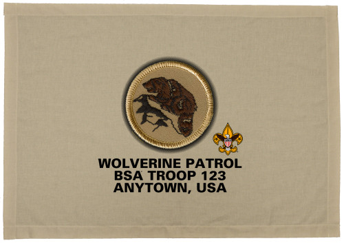 Scouts BSA Patrol Patch Flag with Wolverine Patrol Patch
