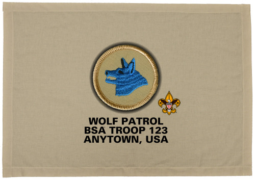 Scouts BSA Patrol Patch Flag with Wolf Patrol Patch