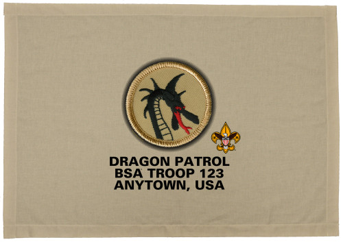 Scouts BSA Patrol Patch Flag with Dragon Patrol Patch