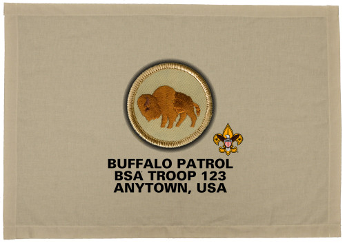 Scouts BSA Patrol Patch Flag with Buffalo Patrol Patch