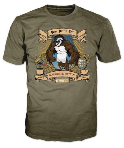 Wood Badge Shirt with Wood Badge Bobwhite Critter and Wood Badge Logo
