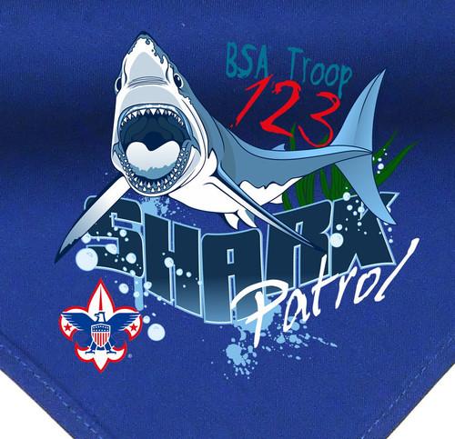 Troop Neckerchief with Shark Patrol Design and BSA Logo