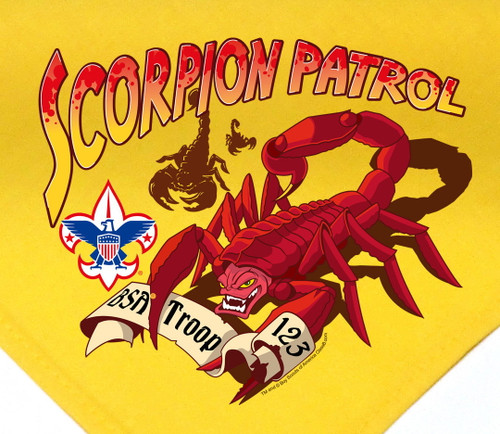Troop Neckerchief with Scorpion Patrol Design and BSA Logo
