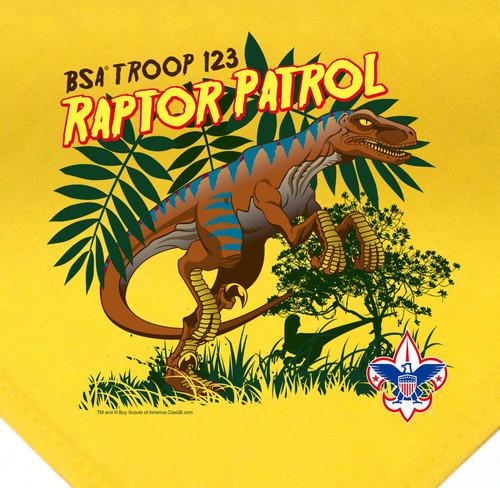 Troop Neckerchief with Raptor Patrol Design and BSA Logo