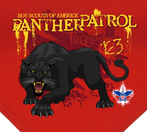 Troop Neckerchief with Panther Patrol Design and BSA Logo