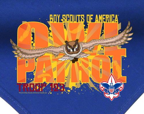 Troop Neckerchief with Owl Patrol Design and BSA Logo
