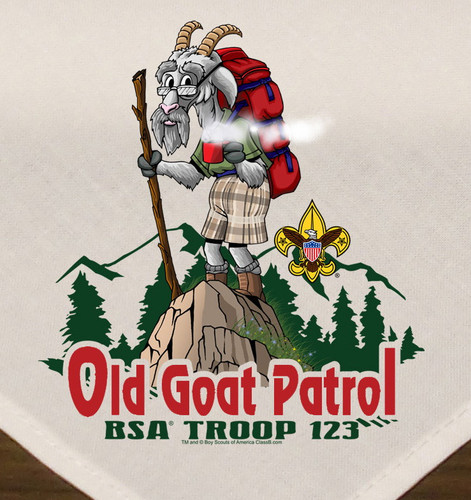 Troop Neckerchief with Old Goat Patrol Design and BSA Logo