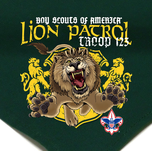 Troop Neckerchief with Lion Patrol Design and BSA Logo