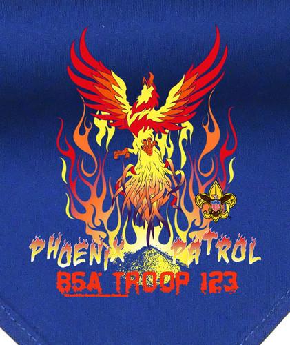 Troop Neckerchief with Phoenix Patrol Design and BSA Logo
