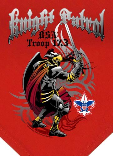 Troop Neckerchief with Knight Patrol Design and BSA Logo