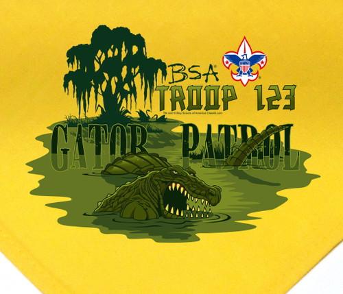 Troop Neckerchief with Gator Patrol Design and BSA Logo