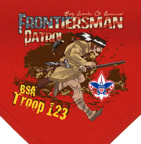 Troop Neckerchief with Frontiersman Patrol Design and BSA Logo