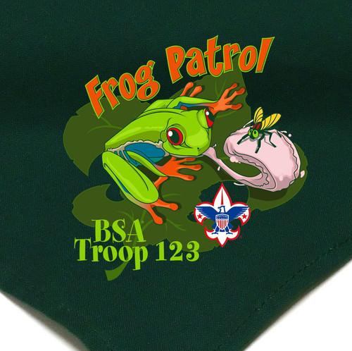 Troop Neckerchief with Frog Patrol Design and BSA Logo
