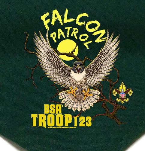 Troop Neckerchief with Falcon Patrol Design and BSA Logo