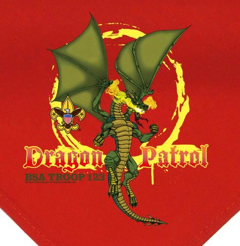 Troop Neckerchief with Dragon Patrol Design and BSA Logo