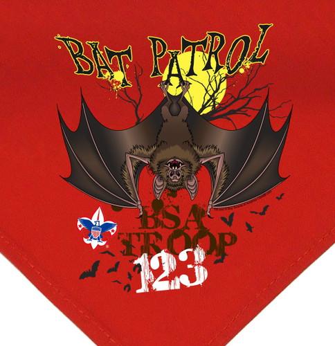 Troop Neckerchief with Bat Patrol Design and BSA Logo