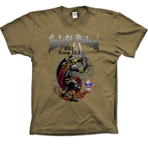 Scouts BSA Patrol Shirts with Knight with Sword Patrol Design