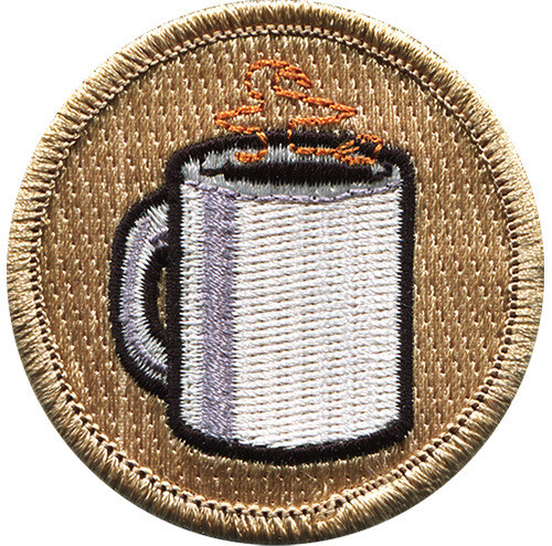 Coffee Cup Scout Patrol Patch - embroidered 2 inch round