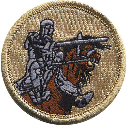 Knight on Horse Scout Patrol Patch - embroidered 2 inch round