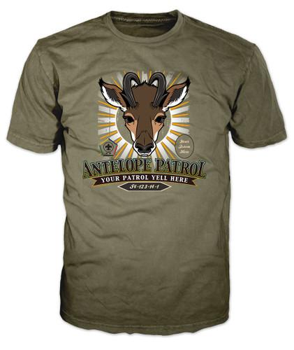 Wood Badge Shirt with Wood Badge Antelope Critter and Wood Badge Logo