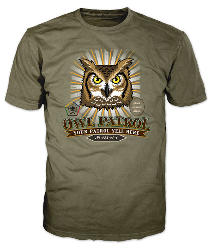 Custom Wood Badge Sunburst Owl Patrol T-Shirt (SP5085)