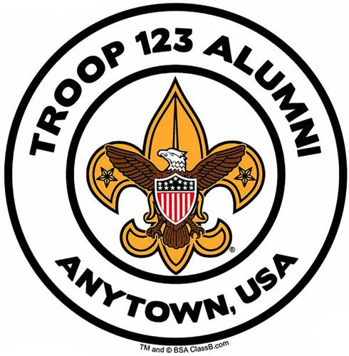 Custom Scouts BSA Troop Alumni Car Sticker with Color Logo (SP5487)