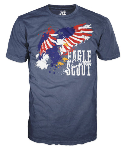BSA Eagle Scout Graphic Tee With Eagle Scout Splatter Design - Navy