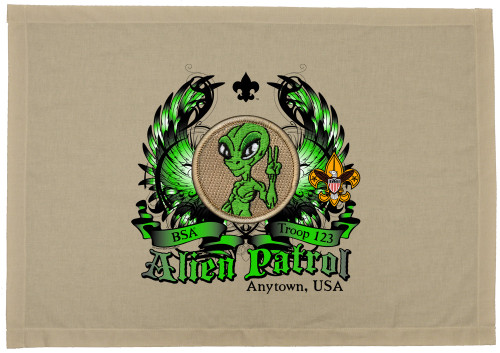 Scouts BSA Patrol Patch Flag with Alien Patrol Patch