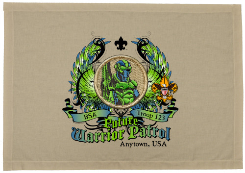 Scouts BSA Patrol Patch Flag with Future Warrior Patrol Patch
