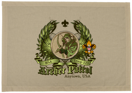 Custom Archer Patrol Patch Flag with Colored Wings (SP5774)
