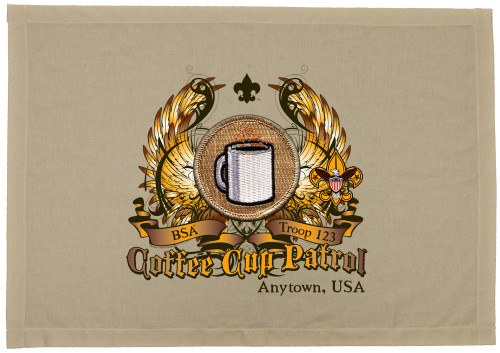 Scouts BSA Patrol Patch Flag with Coffee Cup Patrol Patch