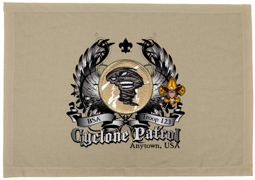Scouts BSA Patrol Patch Flag with Cyclone Patrol Patch