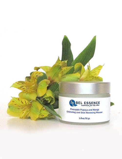 Pineapple, Papaya and Mango Exfoliating and Skin Renewing Mousse - Firms Skin, Reduces Discolorations