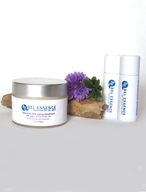 Anti Aging Face Moisturizer, Anti Wrinkle Cream and Soft Gloss Hydrating Lip Balm Duo