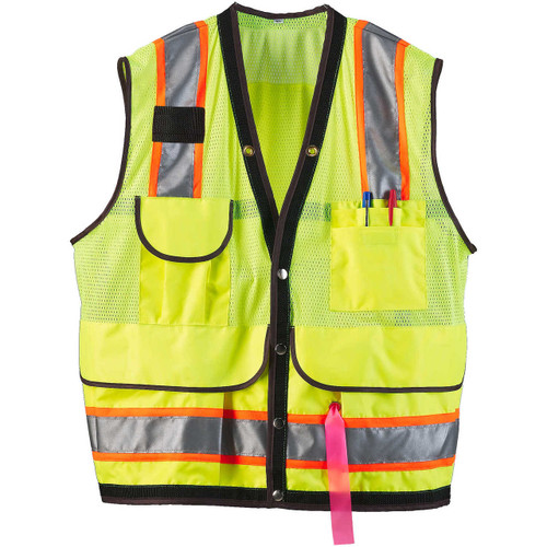 8 Pocket Class 2 Mesh Cruiser Vest, Hi-Viz Orange or Lime Green