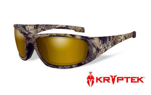 Wiley X Boss Safety Glasses | Polarized Venice Gold Mirror Lenses | Kryptek Highlander Frame | CCBOS12