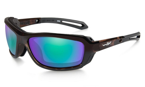 Wiley X Wave Safety Glasses | Polarized Emerald Mirror (Amber) Lenses with Gloss Demi (dark brown) frames