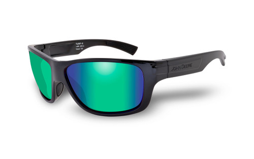 John Deere Turf-X Premium Safety Glasses by Wiley X | ZLP53721 Polarized Green Mirror Lenses | Gloss Black Frames