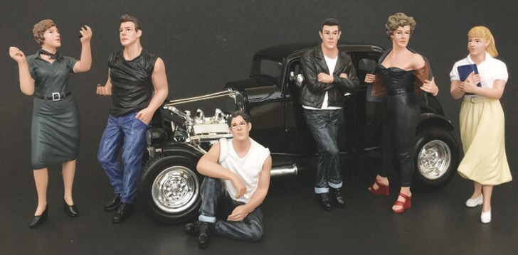 American Diorama All 6 Grease Figures 124 scale 124 Scale Diecast Model by American Diorama 18339NX