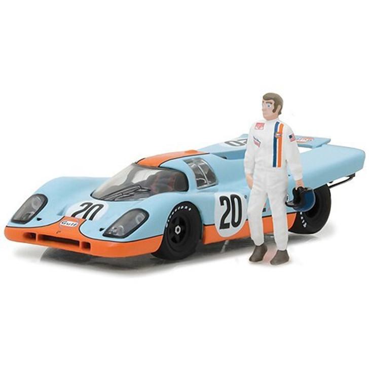 Greenlight 1970 Gulf Oil Porsche 917K with Steve McQueen Figure 143 Scale Diecast Model by Greenlight 18232NX 812982029005