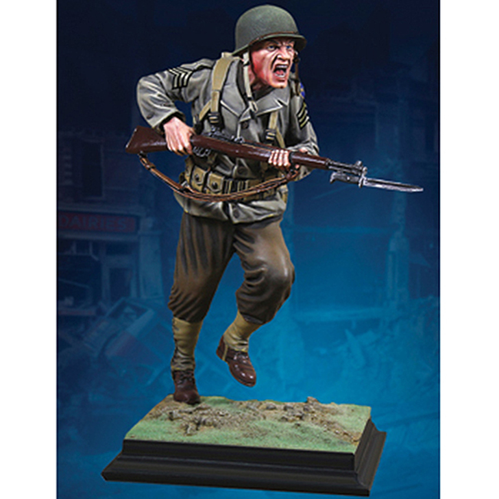 WWII Ranger Charging Marble Statue Main Image