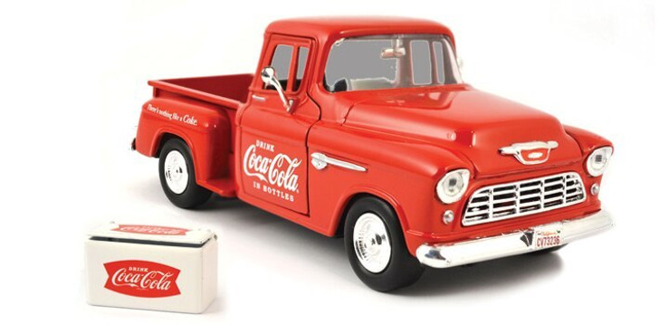 Motor City Classics 1955 Chevy Coca-Cola Stepside Pickup andamp; Cooler 124 Scale Diecast Model by Motor City Classics 15007NX