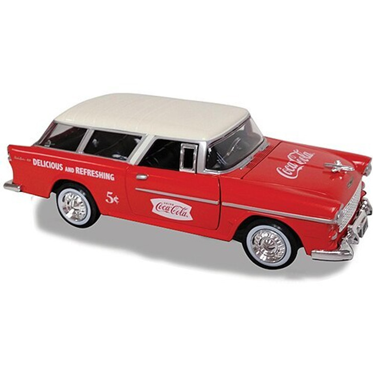 Motor City Classics 1955 Coca-Cola Chevy Nomad with Bottles and Handcart 124 Scale Diecast Model by Motor City Classics 16212NX