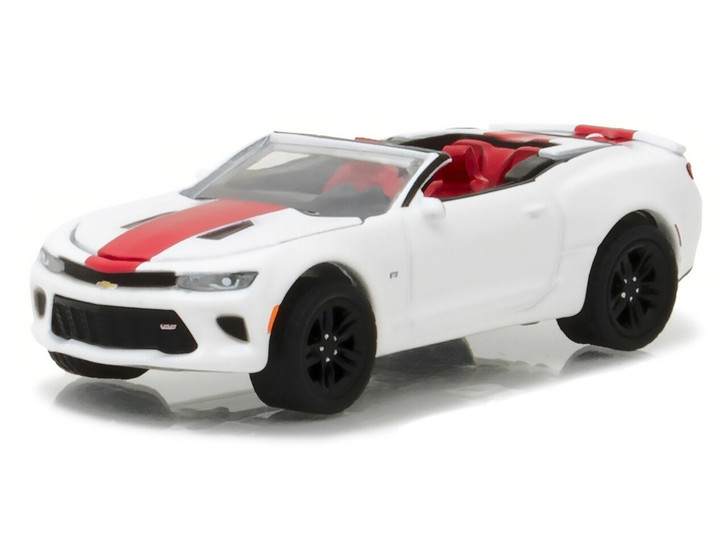 Greenlight 164 General Motors Collection Series 2 - 2017 Chevrolet Camaro SS Convertible - Summit White with Red Center Stripe S 164 Scale Diecast Model by Greenlight GL27875-F