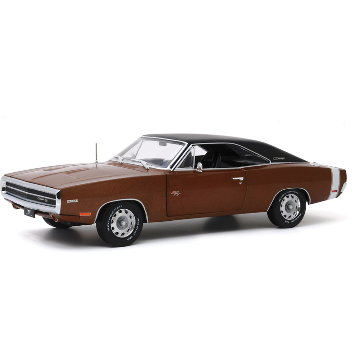 1970 Dodge Charger R/T - Dark Burnt Orange Poly with Black Roof 1:18 Scale Diecast Model by Greenlight Main Image