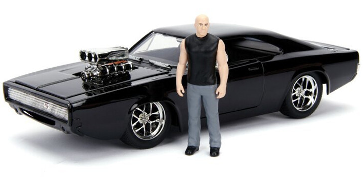 Jada Toys Fast and Furious Dodge Charger and Dom Figure 124 Scale Diecast Model by Jada Toys 19880NX