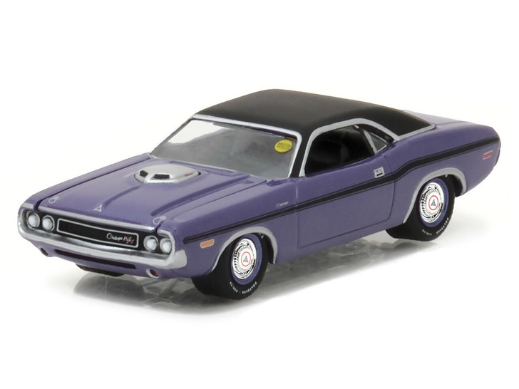 Greenlight 164 Mecum Auctions Collector Cars Series 1 - 1970 Dodge HEMI Challenger R/T - Purple with Black Stripes Solid Pack 164 Scale Diecast Model by Greenlight GL37110-B