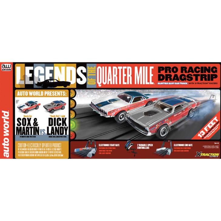 Quarter Mile Legends Electric XTraction Drag Race Set - Dick Landy 1971 HEMI Dodge Challenger + Sox & Martin 1971 Plymou Main Image